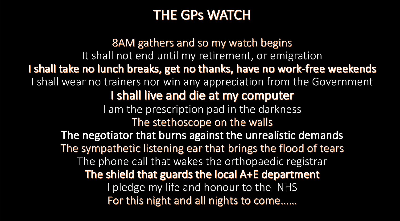 Do you dare swear the oath of the GPs Watch?